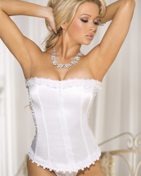 Shirley of Hollywood White Satin and Spandex Corset Top