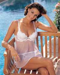Shirley of Hollywood Scalloped Embroidery and Sheer Net Babydoll