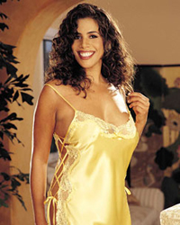 Shirley of Hollywood Plus Size Charmeuse Lace Up Chemise X20015