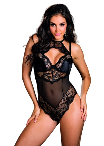 Shirley of Hollywood Stretch Lace and Mesh Teddy