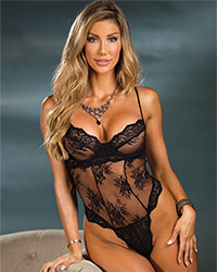 shirley of hollywood black floral lace teddy